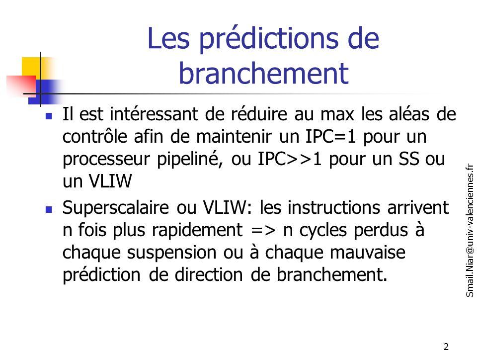 Les prédictions de branchement