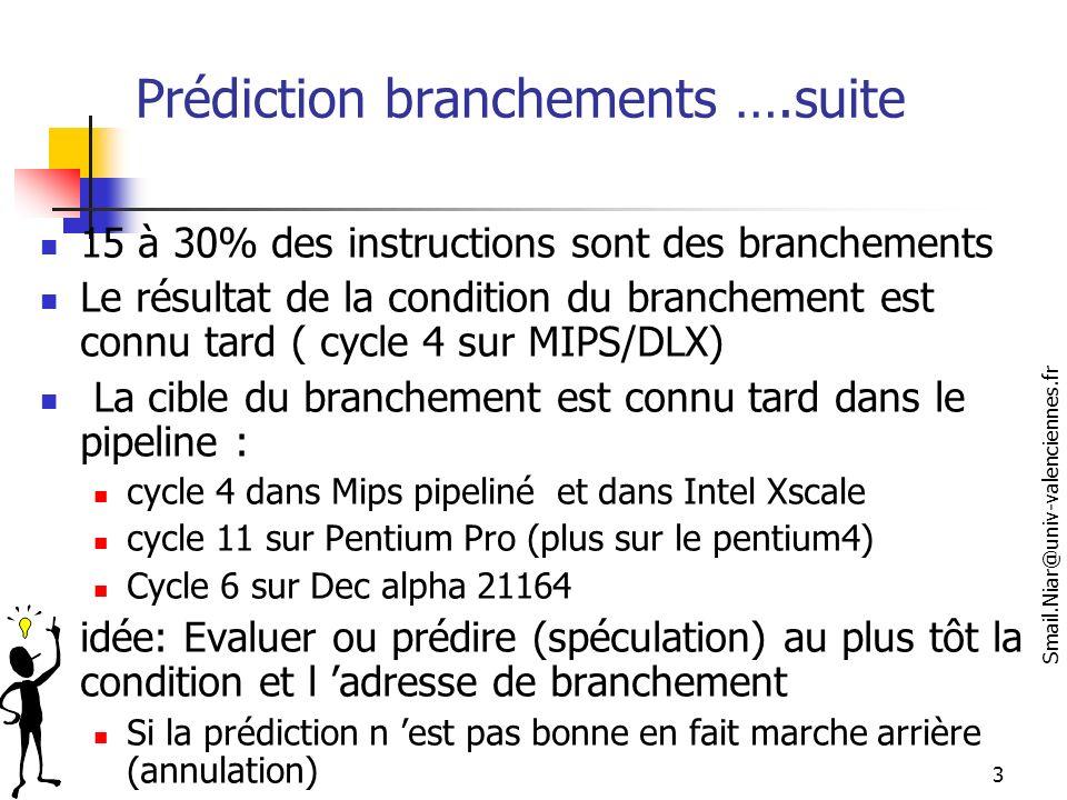 Prédiction branchements ….suite