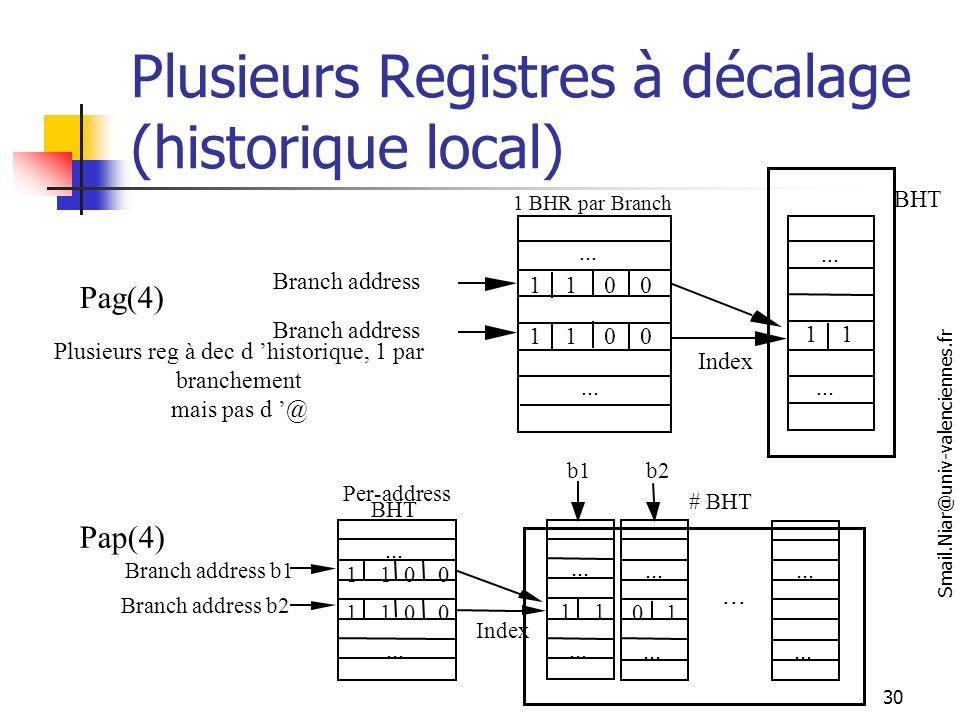 Plusieurs Registres à décalage (historique local)