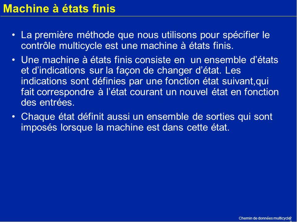 Machine à états finis La première méthode que nous utilisons pour spécifier le contrôle multicycle est une machine à états finis.