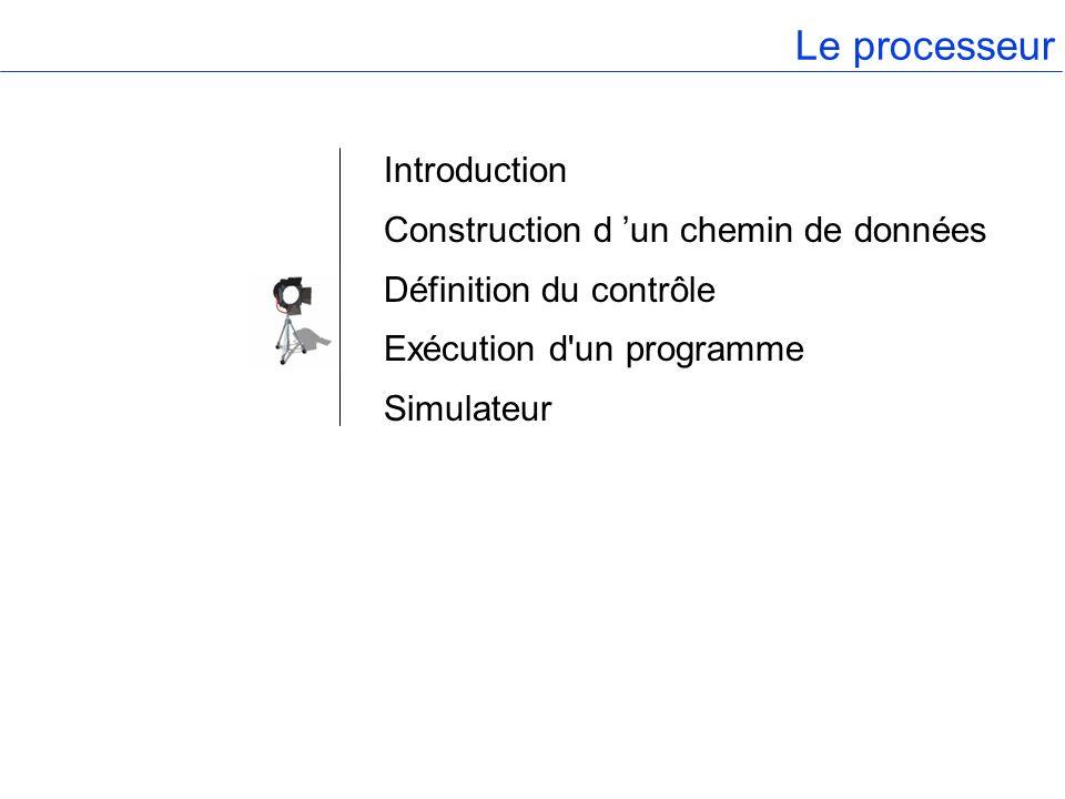 Le processeur Introduction Construction d 'un chemin de données