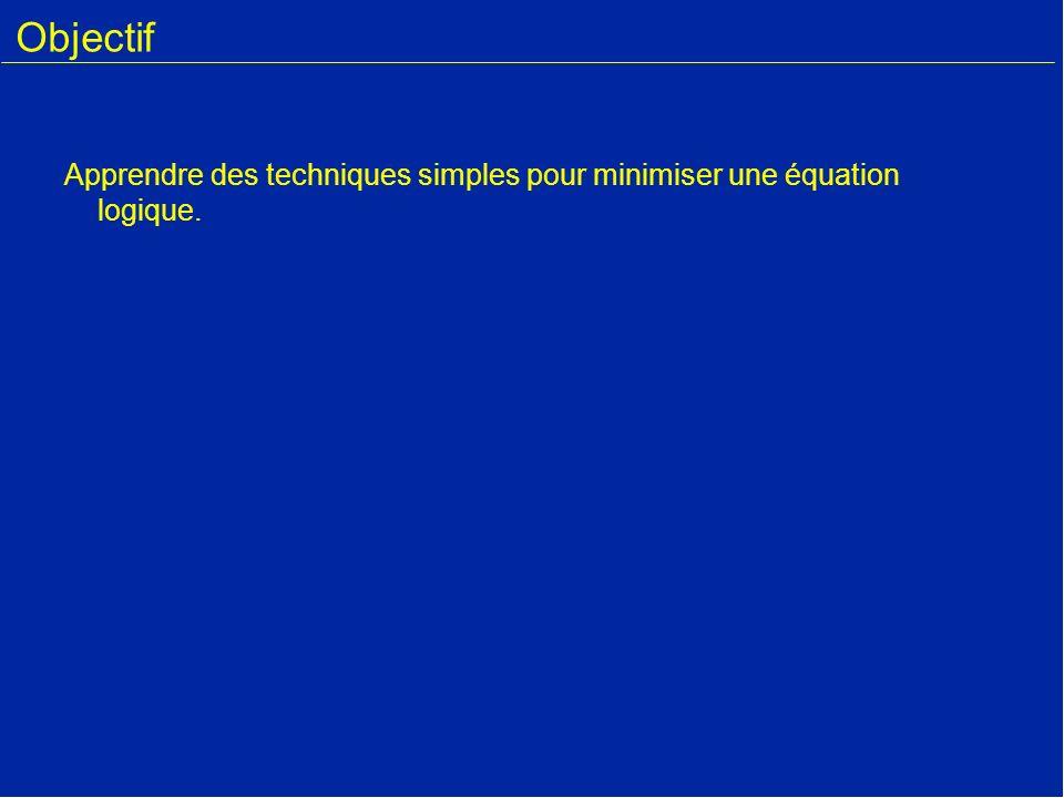 Objectif Apprendre des techniques simples pour minimiser une équation logique.
