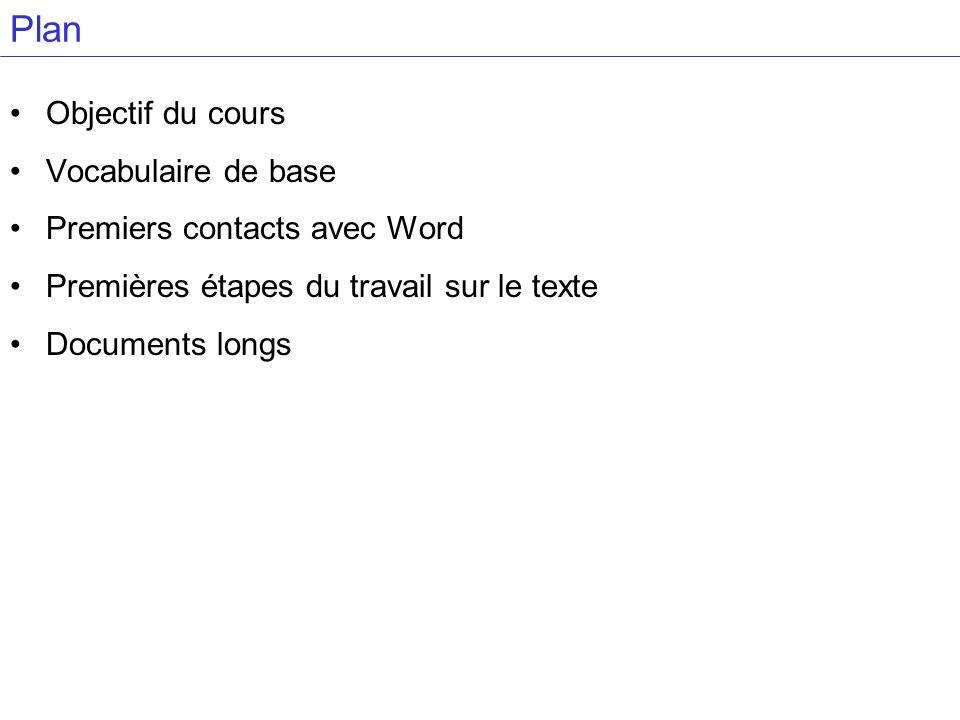 Plan Objectif du cours Vocabulaire de base Premiers contacts avec Word
