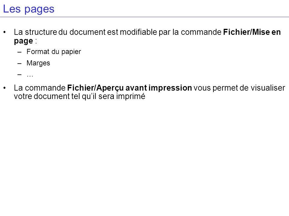 Les pages La structure du document est modifiable par la commande Fichier/Mise en page : Format du papier.