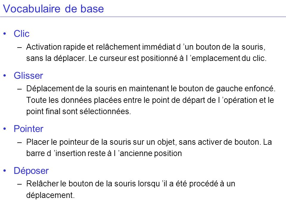Vocabulaire de base Clic Glisser Pointer Déposer