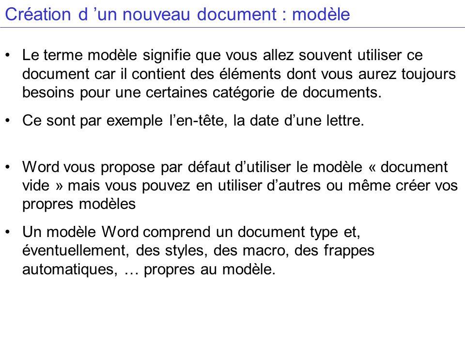 Création d 'un nouveau document : modèle