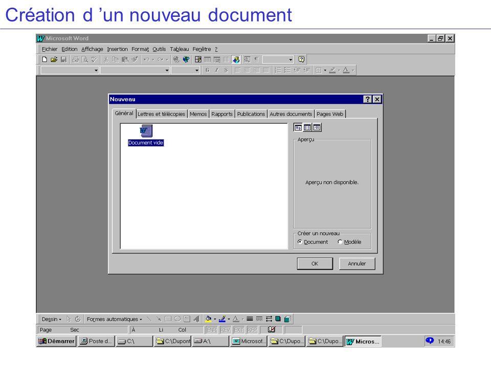 Création d 'un nouveau document