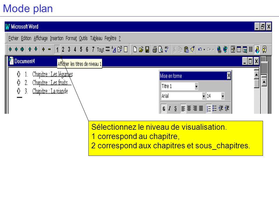Mode plan Sélectionnez le niveau de visualisation.