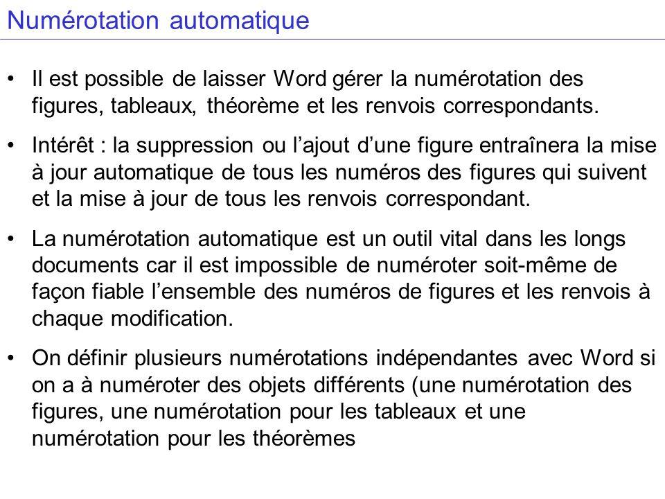 Numérotation automatique