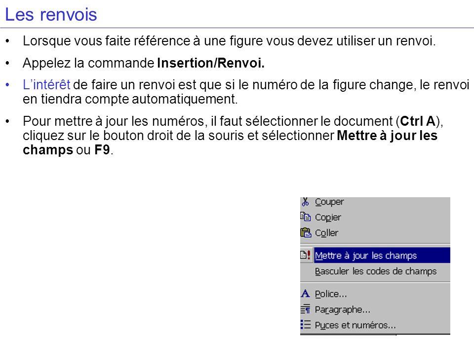 Les renvois Lorsque vous faite référence à une figure vous devez utiliser un renvoi. Appelez la commande Insertion/Renvoi.