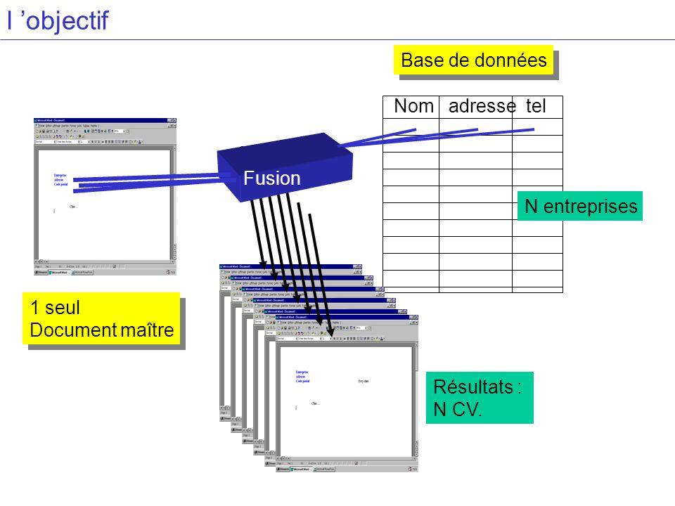 l 'objectif Base de données Nom adresse tel Fusion N entreprises