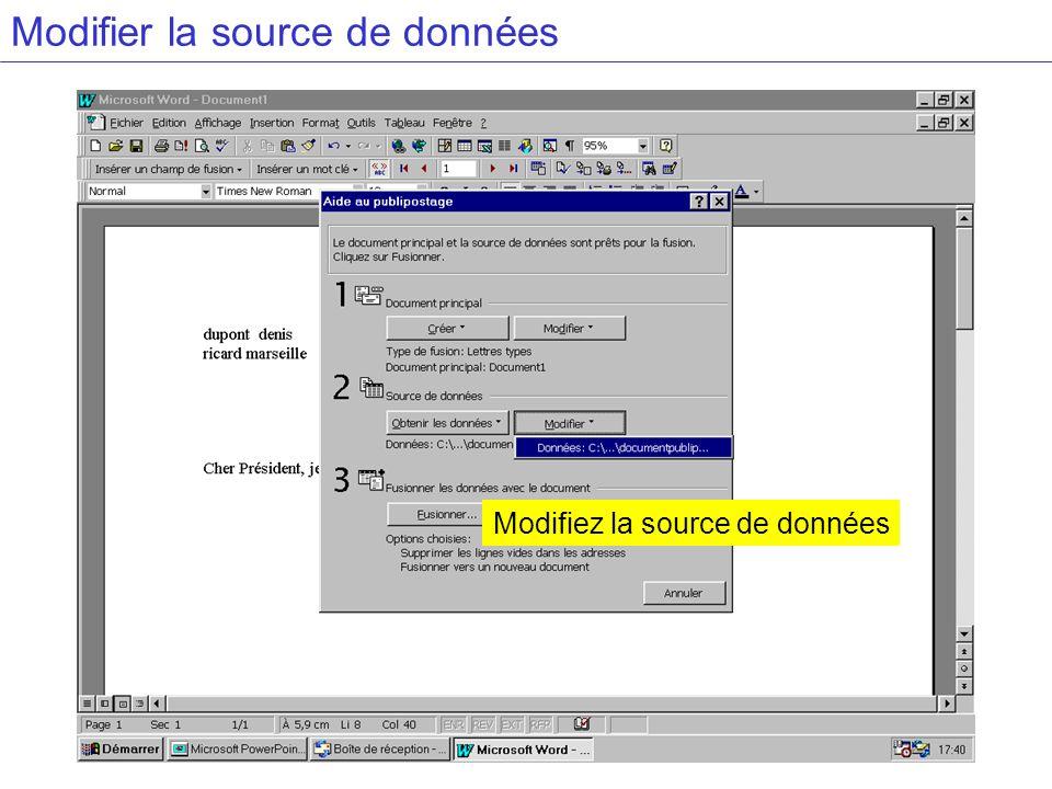 Modifier la source de données