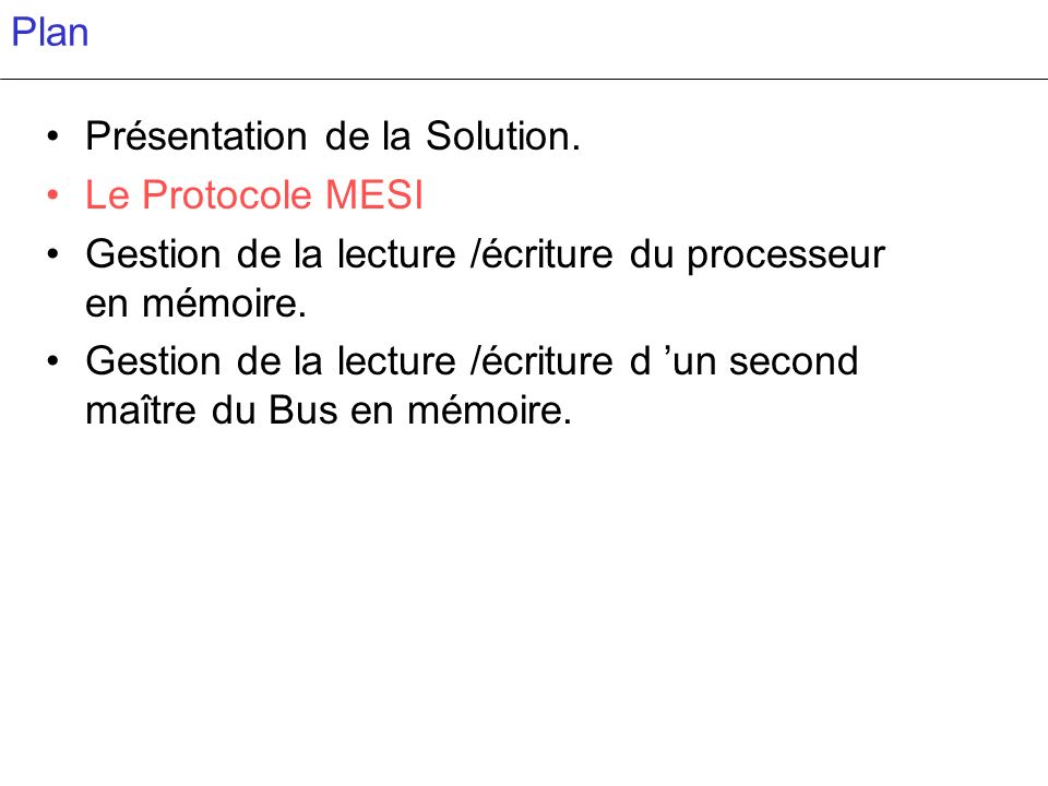 Présentation de la Solution. Le Protocole MESI