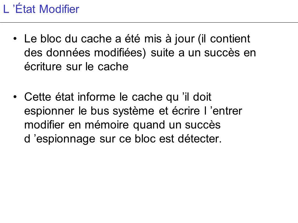 L 'État Modifier Le bloc du cache a été mis à jour (il contient des données modifiées) suite a un succès en écriture sur le cache.
