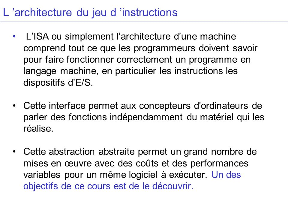 L 'architecture du jeu d 'instructions