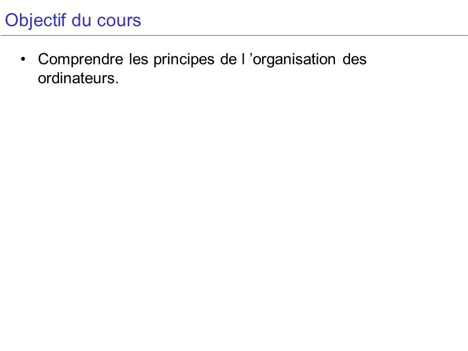 Objectif du cours Comprendre les principes de l 'organisation des ordinateurs.