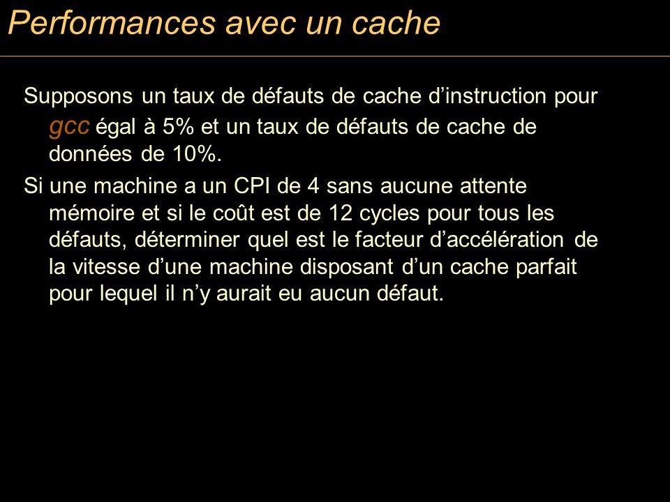 Performances avec un cache
