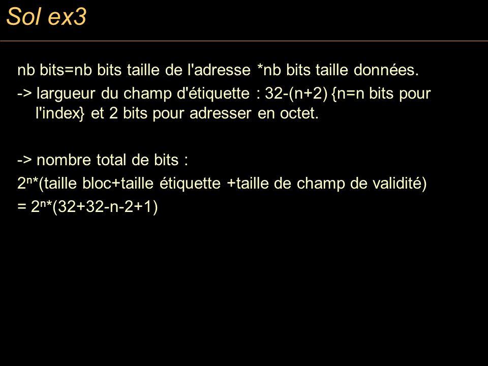 Sol ex3 nb bits=nb bits taille de l adresse *nb bits taille données.