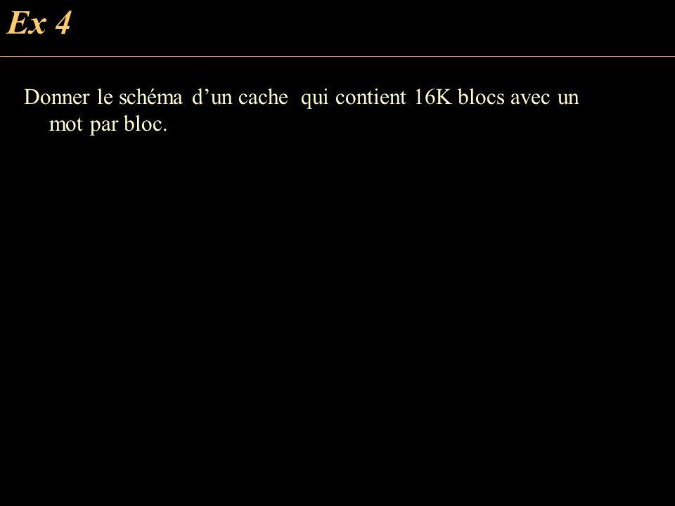 Ex 4 Donner le schéma d'un cache qui contient 16K blocs avec un mot par bloc.