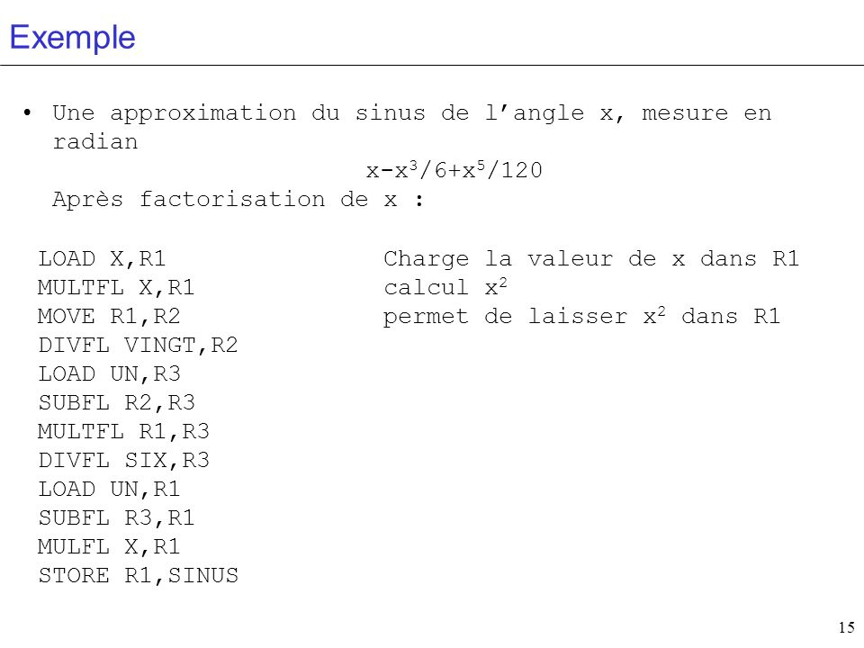 Exemple Une approximation du sinus de l'angle x, mesure en radian x-x3/6+x5/120 Après factorisation de x :