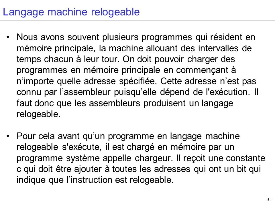 Langage machine relogeable