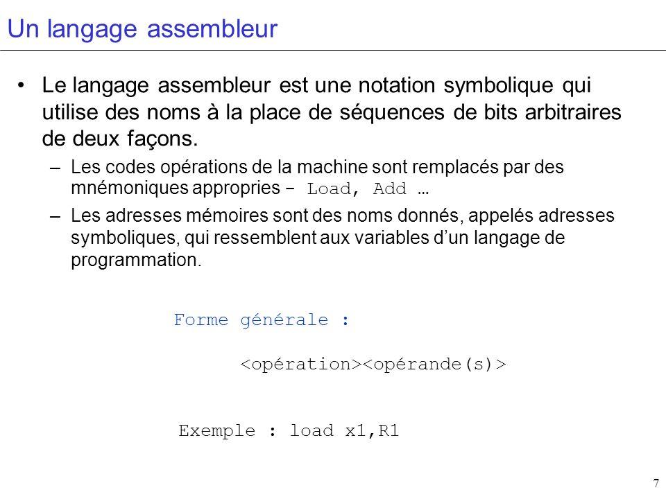Un langage assembleur