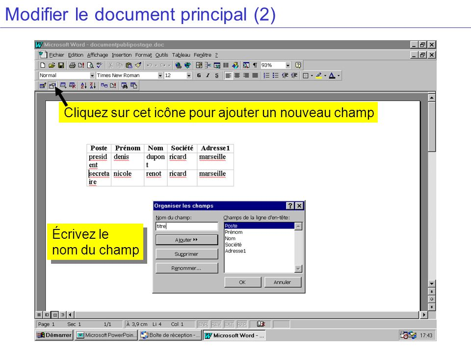 Modifier le document principal (2)