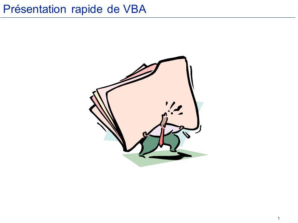 Présentation rapide de VBA