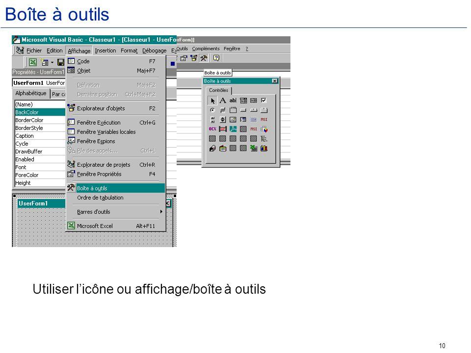 Boîte à outils Utiliser l'icône ou affichage/boîte à outils