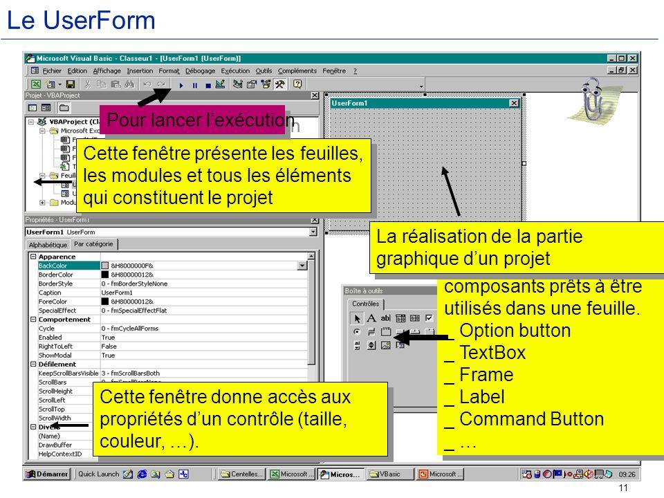 Le UserForm Pour lancer l'exécution