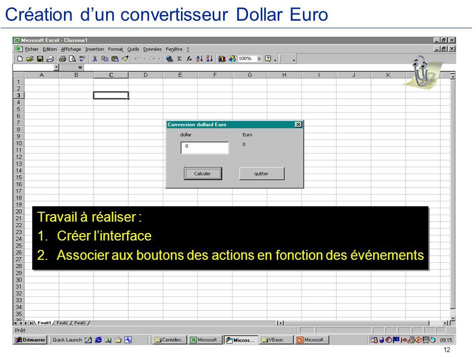Création d'un convertisseur Dollar Euro