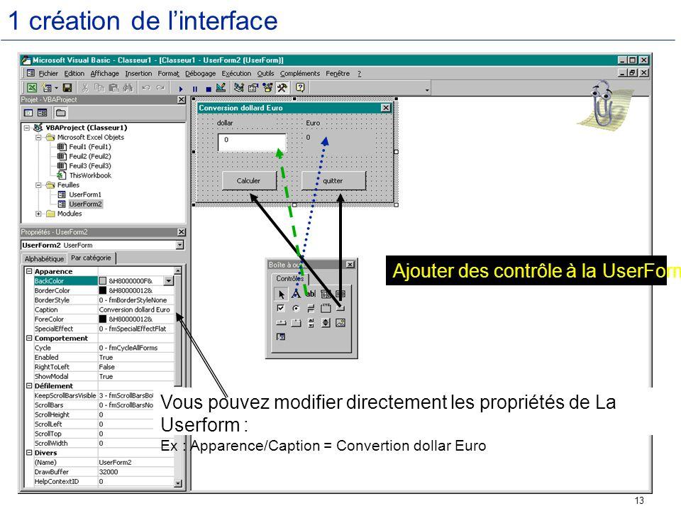 1 création de l'interface