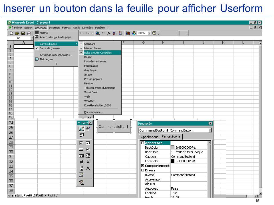 Inserer un bouton dans la feuille pour afficher Userform