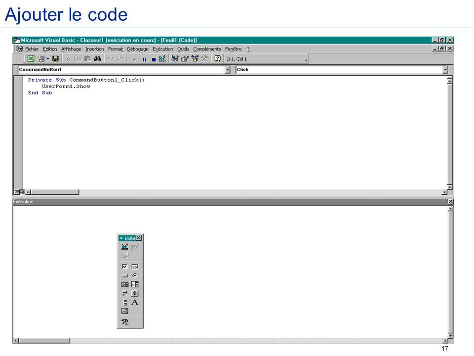 Ajouter le code