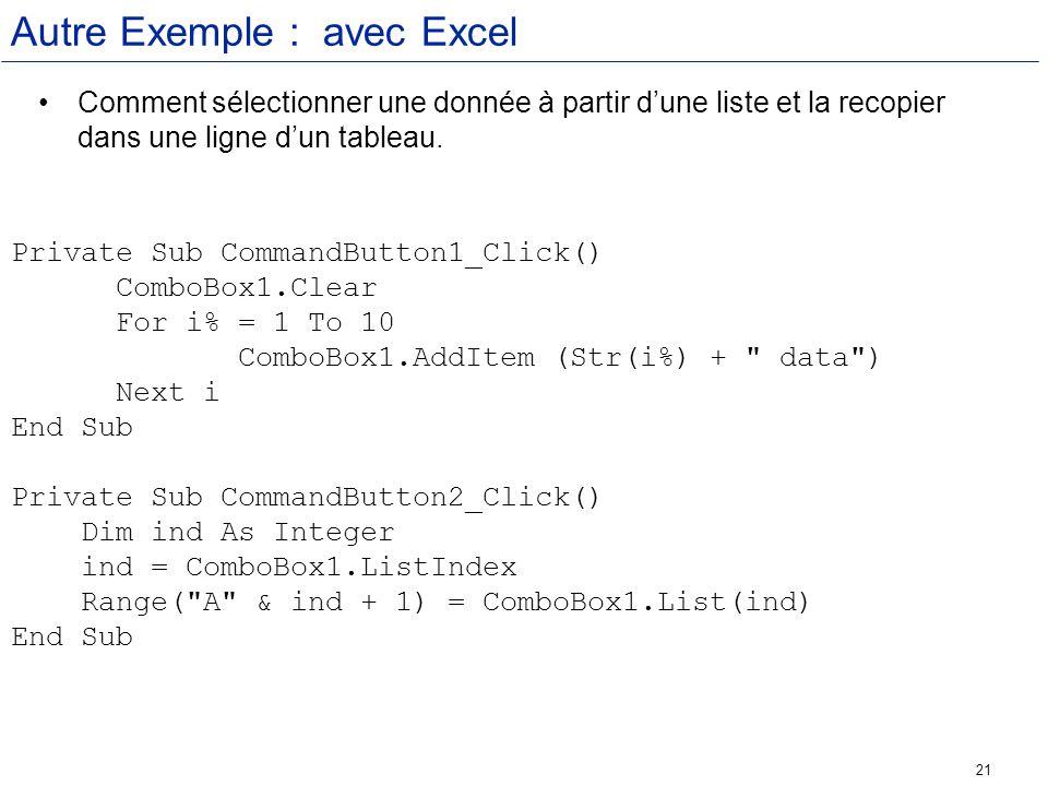 Autre Exemple : avec Excel