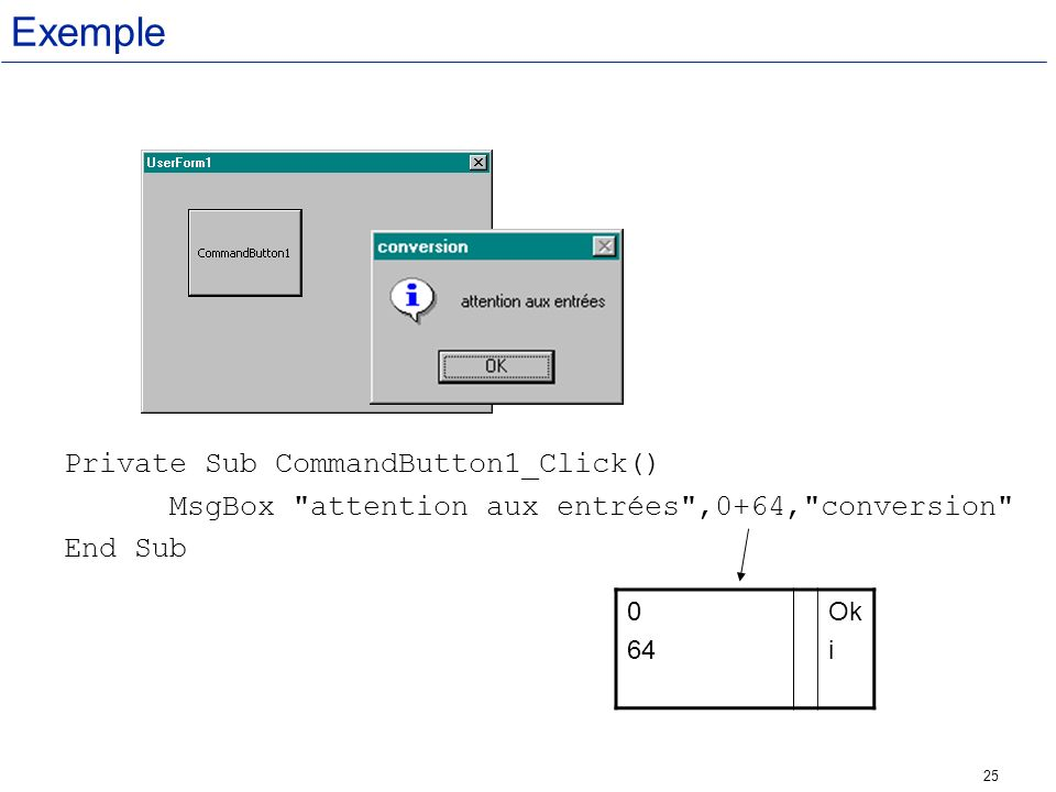 Exemple Private Sub CommandButton1_Click()