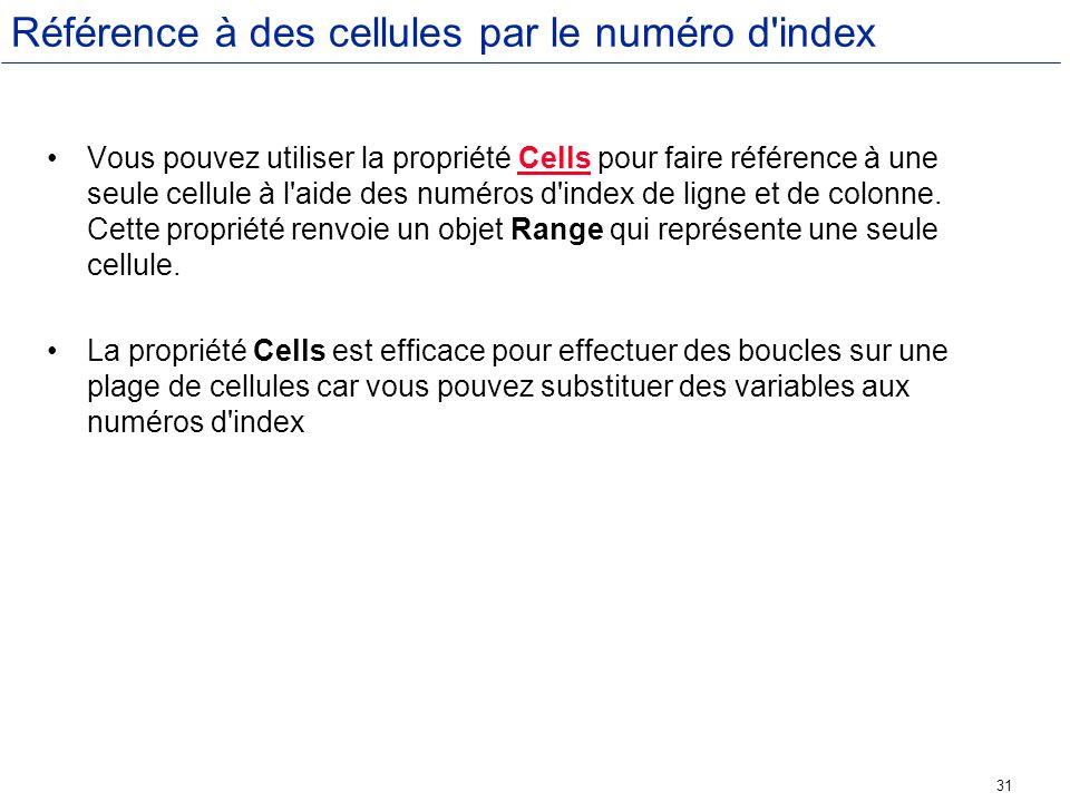 Référence à des cellules par le numéro d index