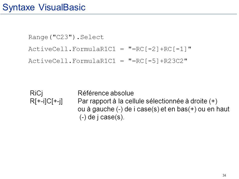 Syntaxe VisualBasic Range( C23 ).Select