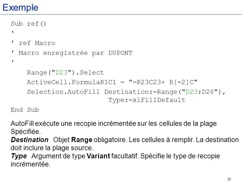 Exemple Sub ref() ref Macro Macro enregistrée par DUPONT