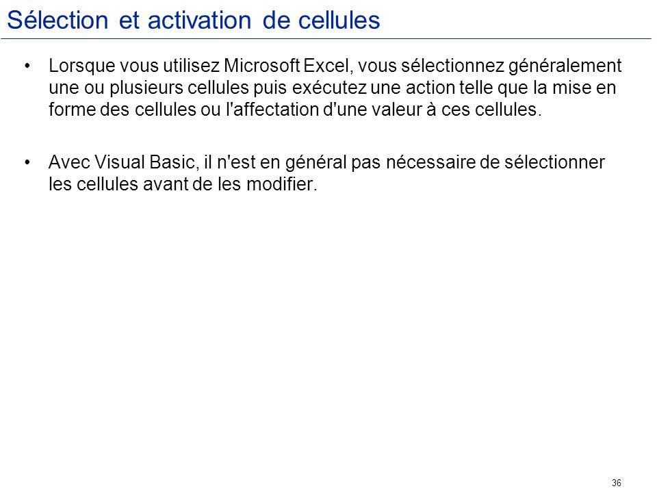 Sélection et activation de cellules