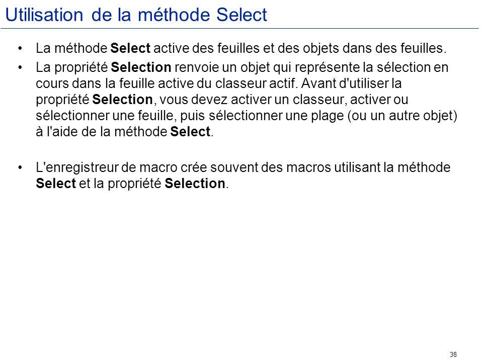 Utilisation de la méthode Select