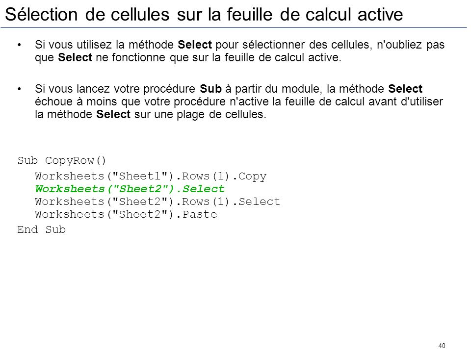 Sélection de cellules sur la feuille de calcul active