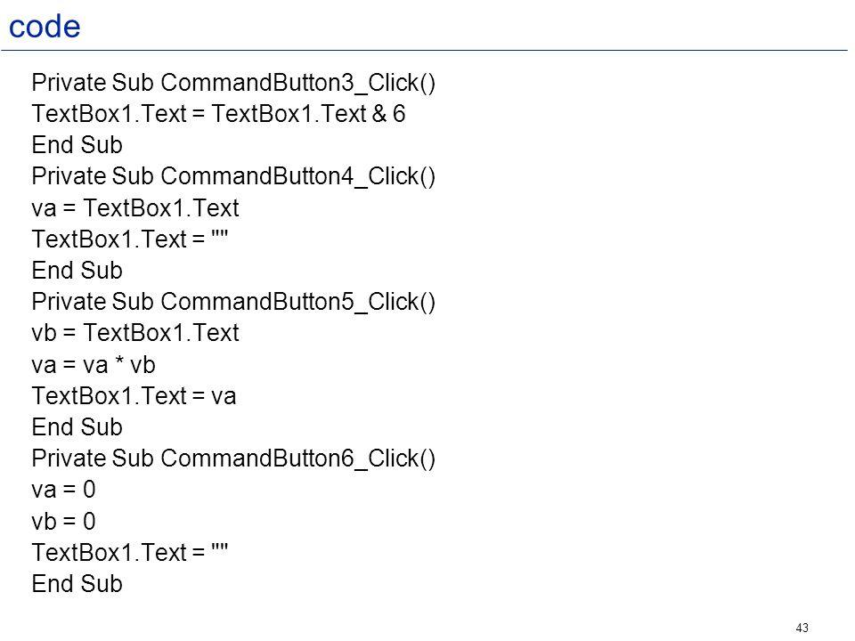 code Private Sub CommandButton3_Click()