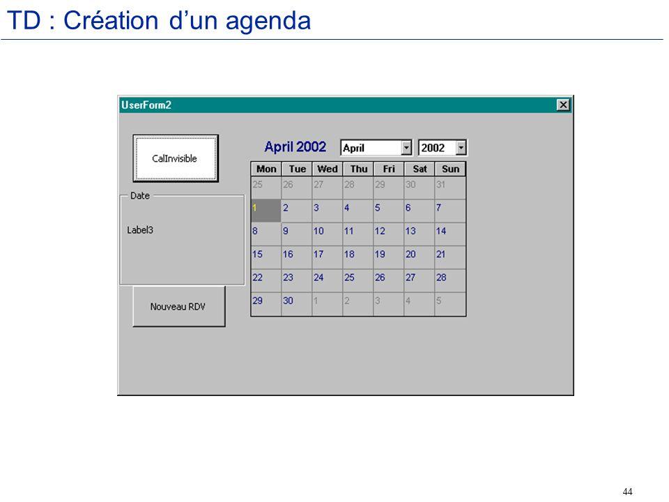 TD : Création d'un agenda