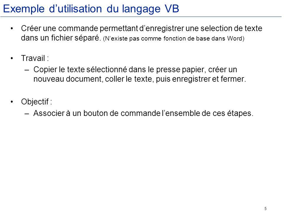 Exemple d'utilisation du langage VB