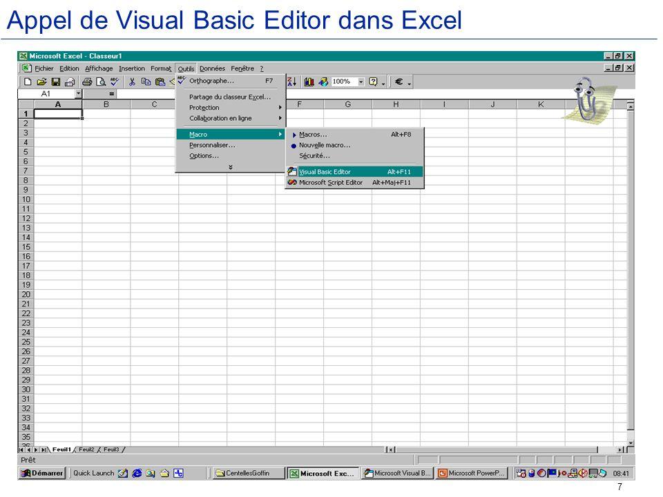 Appel de Visual Basic Editor dans Excel