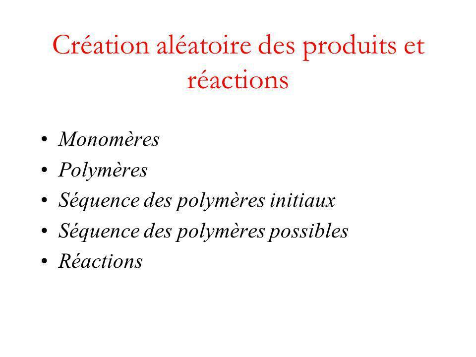 Création aléatoire des produits et réactions