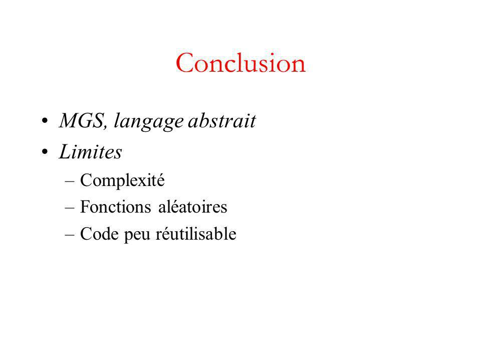 Conclusion MGS, langage abstrait Limites Complexité