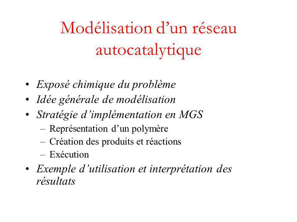 Modélisation d'un réseau autocatalytique