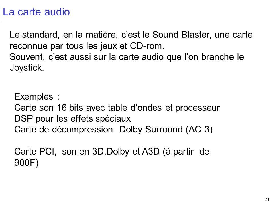 La carte audio Le standard, en la matière, c'est le Sound Blaster, une carte reconnue par tous les jeux et CD-rom.